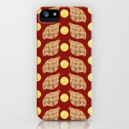 Glod guinea fowl pattern on brown iPhone Case