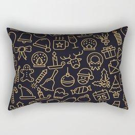 Lovely Golden Christmas Stuffs Pattern Rectangular Pillow