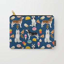 Husky siberian huskies junk food cute dog art sweet treat dogs pet portrait pattern Carry-All Pouch