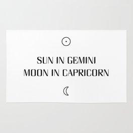 Gemini/Capricorn Sun and Moon Signs Rug
