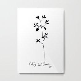 White Leaf Savory Metal Print
