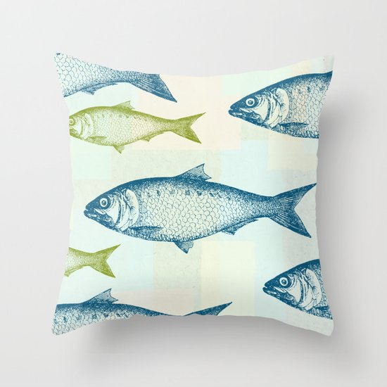 Vintage Fish Throw Pillow