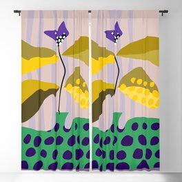 Illustration: growing branch in the vase Blackout Curtain