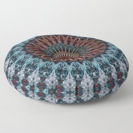 Mandala in light blue and brown tones Floor Pillow