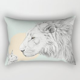 Lion and Bunny Rectangular Pillow