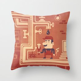 Mario at work Throw Pillow