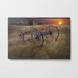 Farm Wagon Chassis in a Grassy Field on a Mid West Farm at Sunset Metal Print