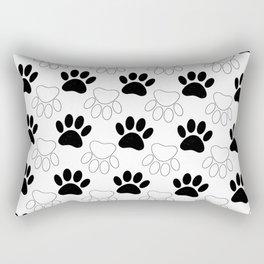 Black And White Dog Paw Print Pattern Rectangular Pillow