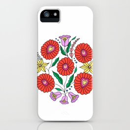 Hungarian embroidery inspired pattern white iPhone Case