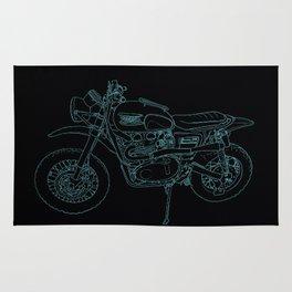 Blue Neon Motorcycle Rug