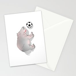 Hippo playing Football Stationery Cards