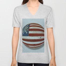 American Flag Wood Orb Unisex V-Neck