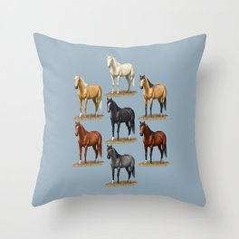 Horse Common Solid Coat Colors Chart Throw Pillow