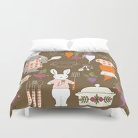 chef Duvet Covers featuring Rabbit Chef by Lara Lockwood