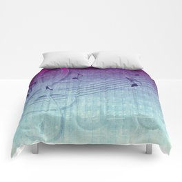 Aqua Purple Ombre Music Notes Comforters