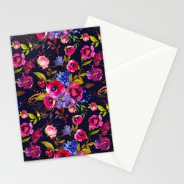 Bright Pink, Purple and Lavender Floral Arrangement with Feathers on Black Stationery Cards