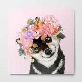 Black Shiba Inu with Flower Crown Pink Metal Print