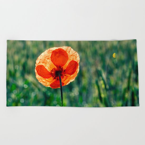 Poppy in a green meadow Beach Towel