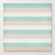 aqua and sand stripes Canvas Print