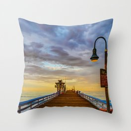 Magical San Clemente Pier Throw Pillow