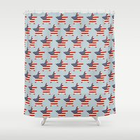 patriotic Shower Curtains featuring Patriotic Stars by pugmom4
