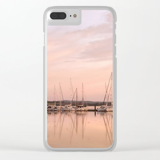Pink sundown at the sea Clear iPhone Case