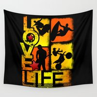 sports Wall Tapestries featuring Love Life Extreme Sports  by Dre' J - Cyncor Artworks