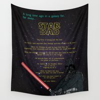 dad Wall Tapestries featuring Darth Vader Dad by Rebecca Bear