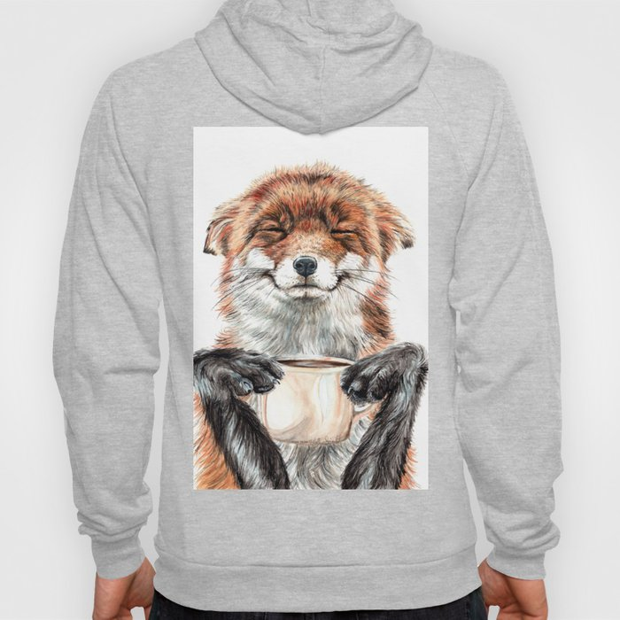 """ Morning fox "" Red fox with her morning coffee Hoodie"