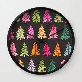 Colorful Vintage Bottlebrush Christmas Trees on Black Wall Clock