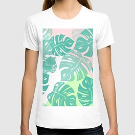 Linocut Monstera Tricolori T-shirt