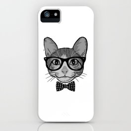 Cat Hipster With Polka Dots Bow Tie - Black White iPhone Case