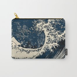 Japanese Waves Blue Carry-All Pouch