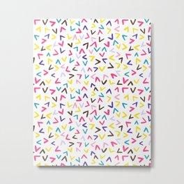 Heart shaped colourful confetti rain (LARGE pattern) Metal Print