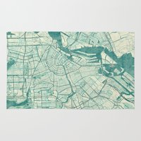 vintage map Area & Throw Rugs featuring Amsterdam Map Blue Vintage by City Art Posters