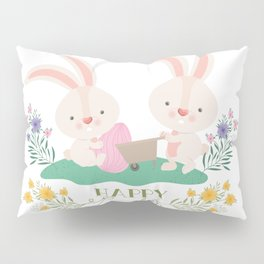 Happy Easter - Bunny Rabbits Eggs and Yellow, Purple Pink Flowers Pillow Sham