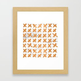 X Cross Love Marble Bronze Copper Gold Framed Art Print