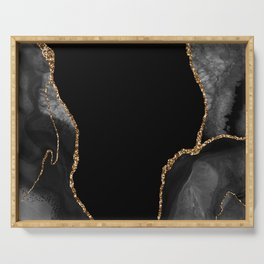 Expanse Black Agate with Gold Serving Tray