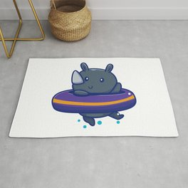 Cute Rhino With Swim Ring Icon Illustration Animal Summer Icon Concept Isolated Flat Cartoon Style Rug