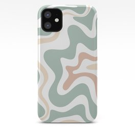 Liquid Swirl Abstract Pattern in Celadon Sage iPhone Case