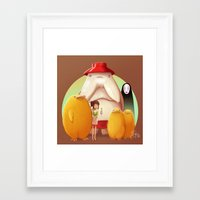 studio ghibli Framed Art Prints featuring Studio Ghibli - Radish Spirit by Laurence Andrew Page Illustrator