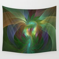 leon Wall Tapestries featuring Colorful Shapes, Fractal Art by gabiw Art