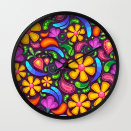 Colorful floral and paisley pattern Wall Clock
