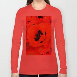 DECORATIVE ORANGE POPPY FLOWERS COMPOSITION Long Sleeve T-shirt