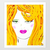 blondie Art Prints featuring Blondie by Tina Vaughn