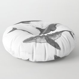 Ocean Whales Marble Black and White Floor Pillow
