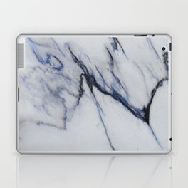 White Marble with Black and Blue Veins Laptop & iPad Skin