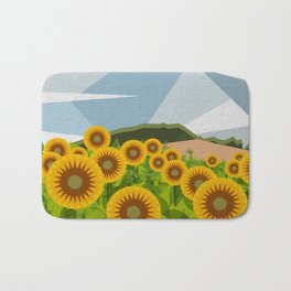 SUNFLOWERS (geometric flowers abstract) Bath Mat