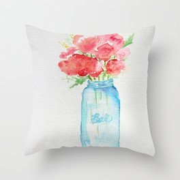 Ball Jar - Watercolor  Throw Pillow