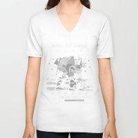 gundam V-neck T-shirts featuring 8 Bit Ugly Gundam  by Kenjken